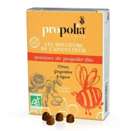 Gommes Propolis - Gingembre, Citron & sirop d'agave BIO - 45g